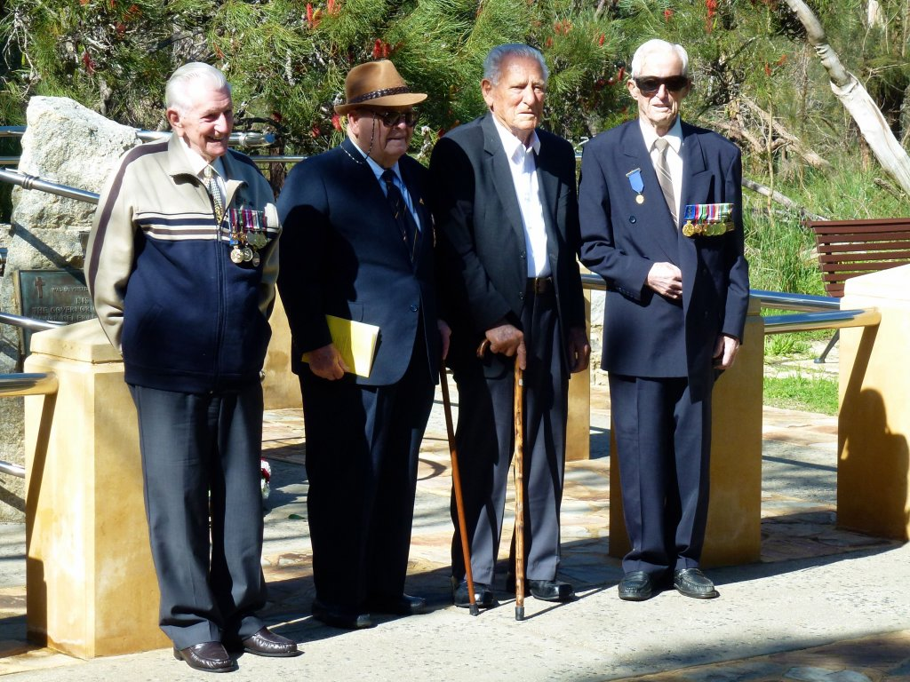 POW Memorial, Kings Park, 2013 Service to Remember End of War & Victory over Japan - Veterans John Gimour, Ron Badock, Dick Ridgwell, Wally Holding.