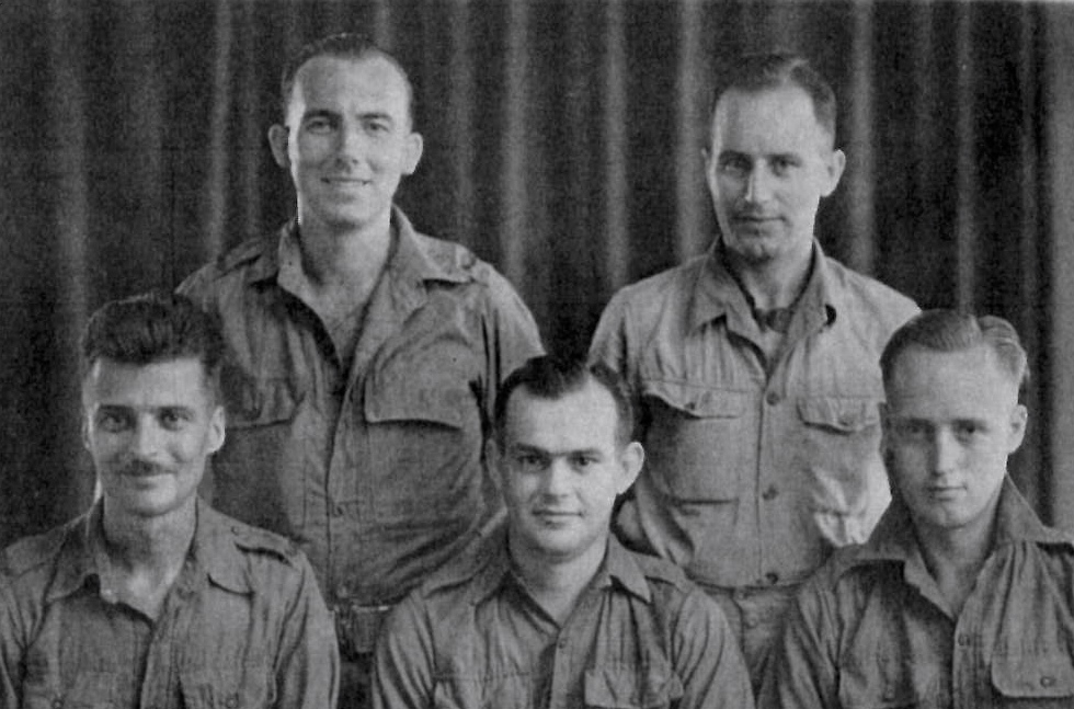 Back L-R: Jim Gilmour, Colin Rainbow. Front L-R: Frank Thaxter, Greg Burdon, Owen Doust After Release1945