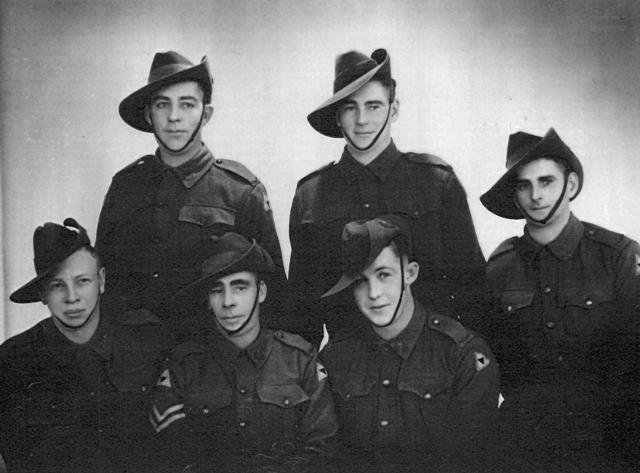 Standing rear L-R William Charles Roberts died 16/8/1942, other two unknown. Sitting Front L-R A Brooker KIA, Walter Breed, John Waddell No 12 Platoon.