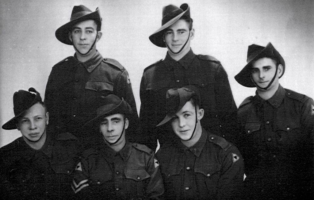 Back Row L-R: W Roberets WX9358 died 16/8/1943 Khonkan 55km Camp, Burma, Unknown, Unknown. Front L-R: A Brooker KIA. W. Breed, John Waddell, 12th Platoon,
