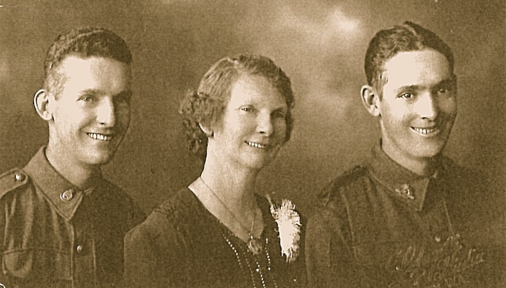 Maurice William Caldwell (Right) with brother Arnold and Mother, Mary Ann