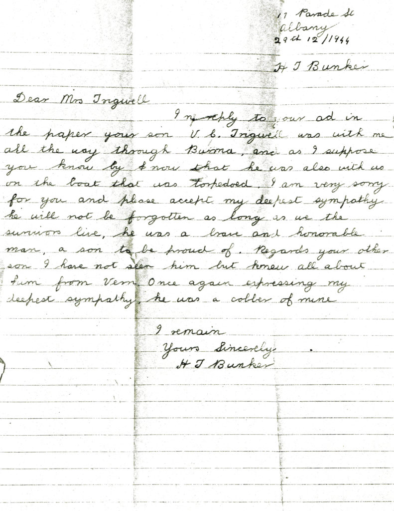 No 1letter from Harry Bunker to Mary Trigwell