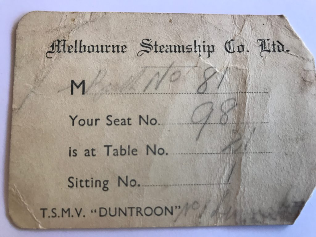 H Tysoe Ticket for Duntroon