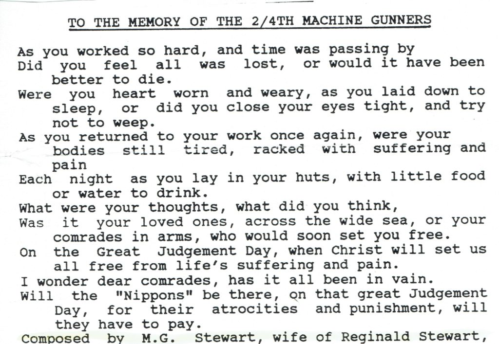"L Cpl Reginald Harry Stewart WX7324 Poem ""To the Memory of the 2/4th Machine Gunners"" penned by M.G. Stewart, wife of R.H. Stewart"