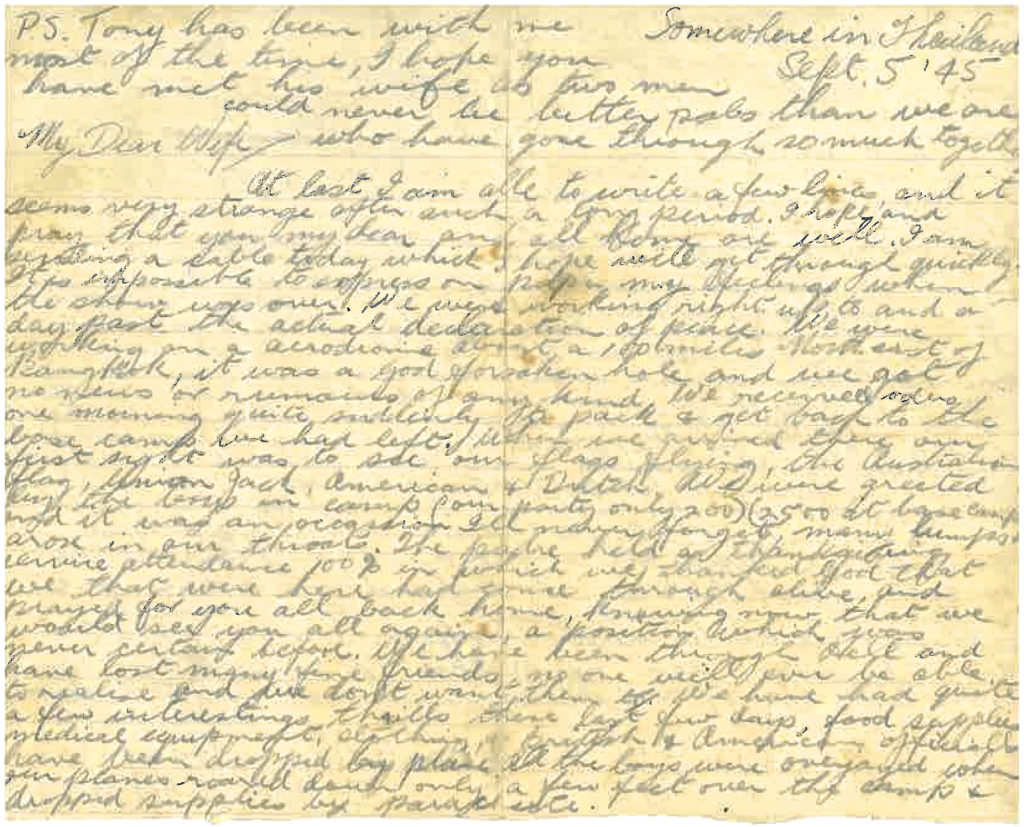 Cornish letter sent from Thailand 1945