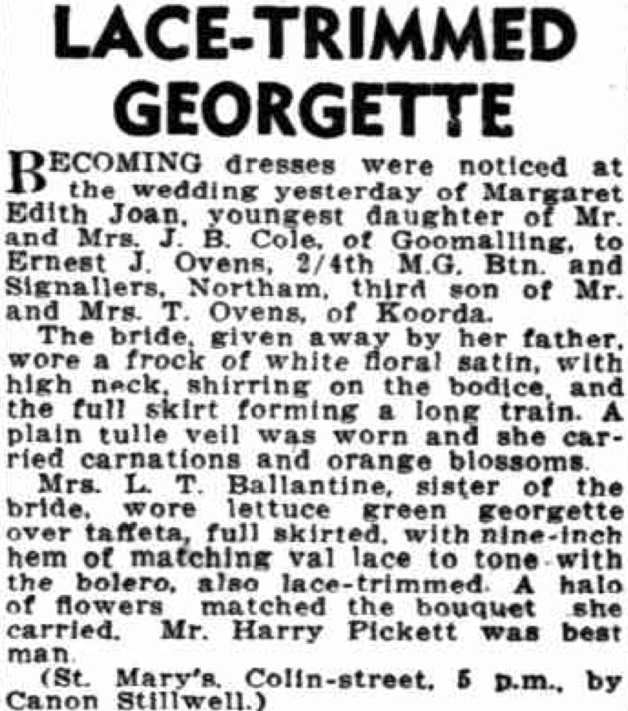 Ovens 29 Jun 1941 - LACE-TRIMMED GEORGETTE - Trove
