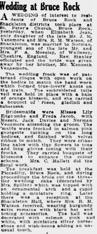 Venemore wedding Sunday Times (Perth, WA - 1902 - 1954), Sunday 24 March 1940, page 18 (1)
